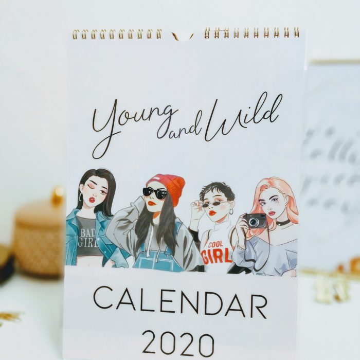 2020 wall calendar girly calendar planner young and wild