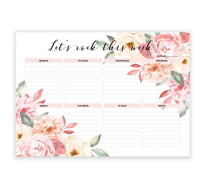 floral notepad 2020 weekly planner