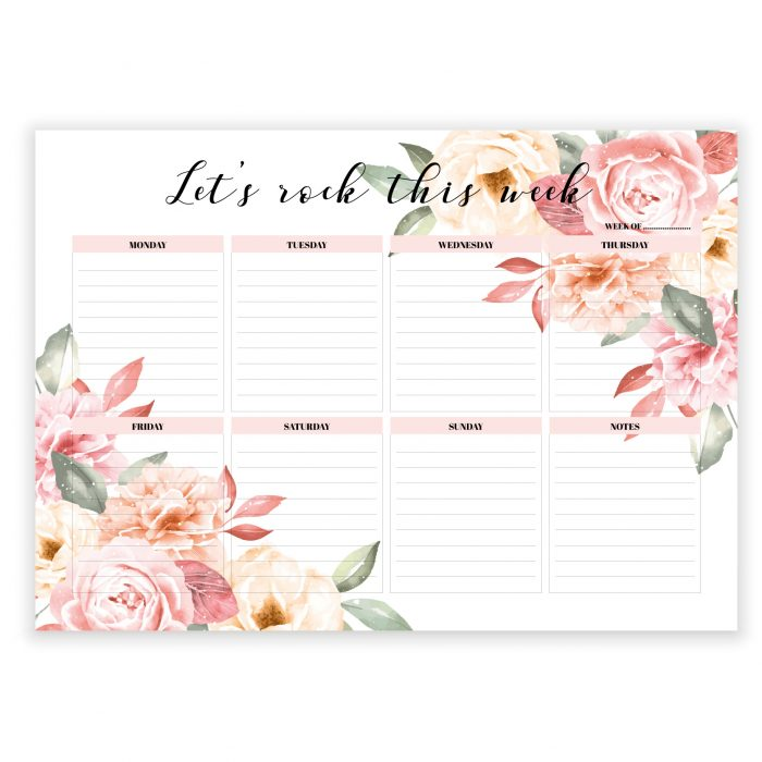 floral notepad 2020 weekly planner