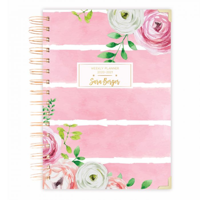 watercolor striped floral wreath Daily planner notebook bullet journal diary personalised diary