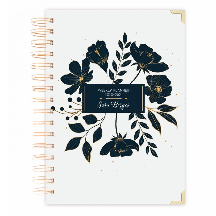 Daily planner notebook bullet journal diary black floral diary