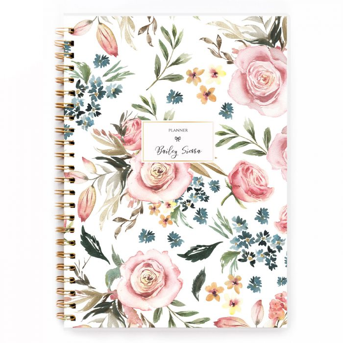 cute floral hardcover planner A5 planner diary agenda